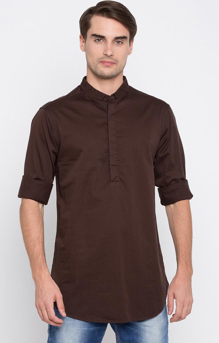 Spykar   spykar Brown Solid Slim Fit Casual Shirt
