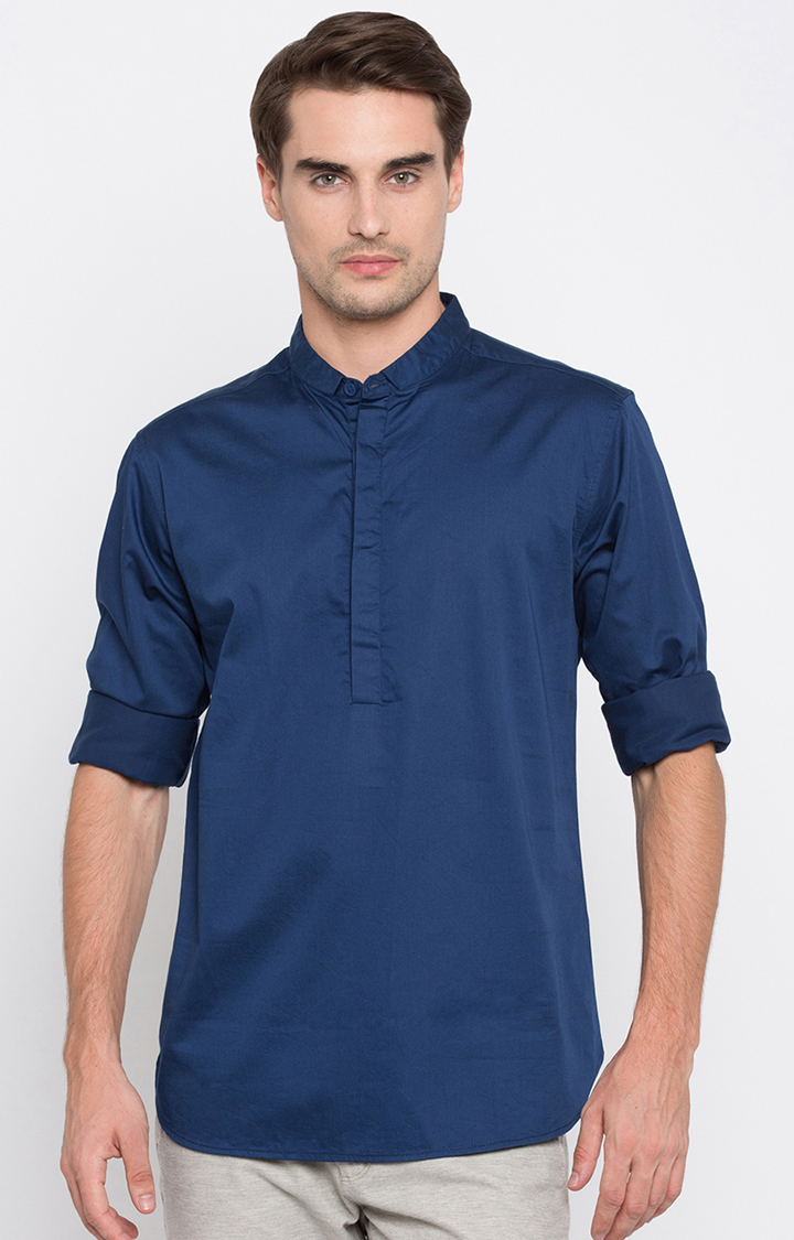 Spykar   spykar Blue Solid Slim Fit Casual Shirt