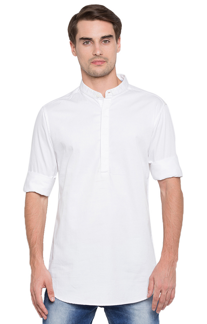 Spykar | spykar White Solid Slim Fit Shirt