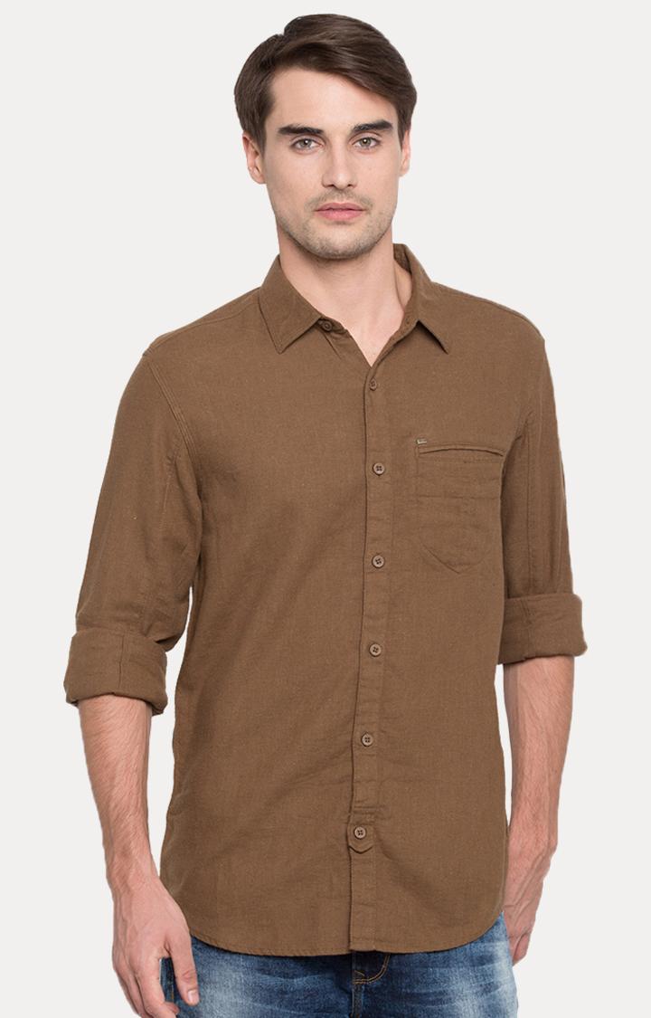 Spykar | spykar Brown Solid Slim Fit Casual Shirt