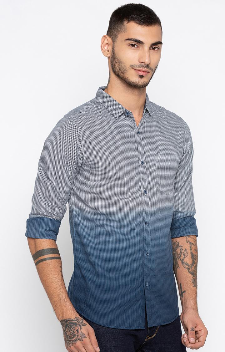 Spykar | spykar White & Navy Slim Fit Casual Shirt