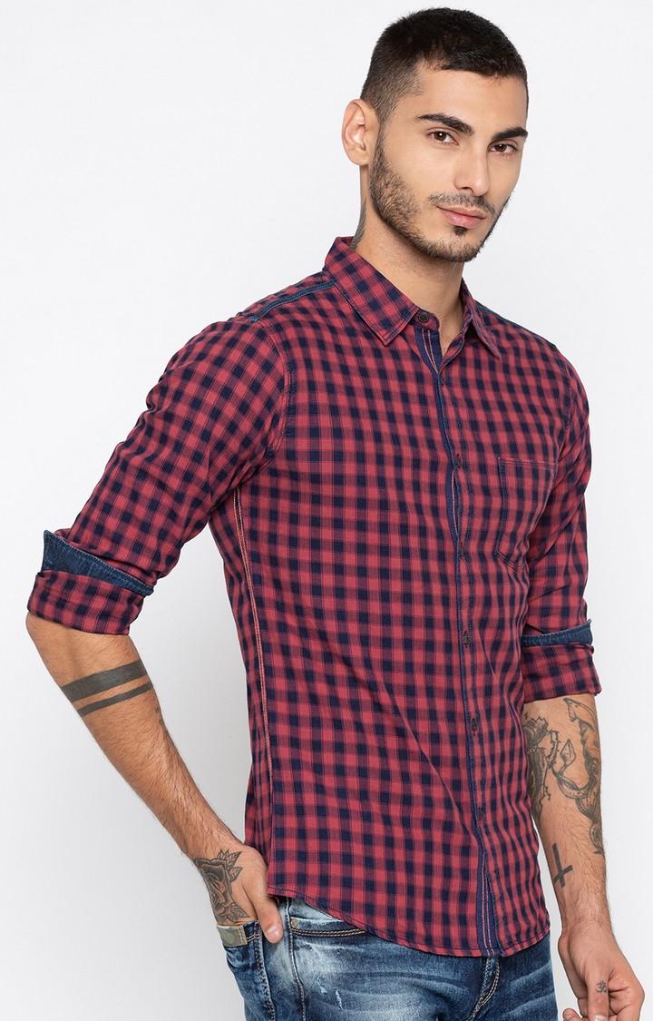 Spykar | spykar Dusty Pink Checked Slim Fit Casual Shirt