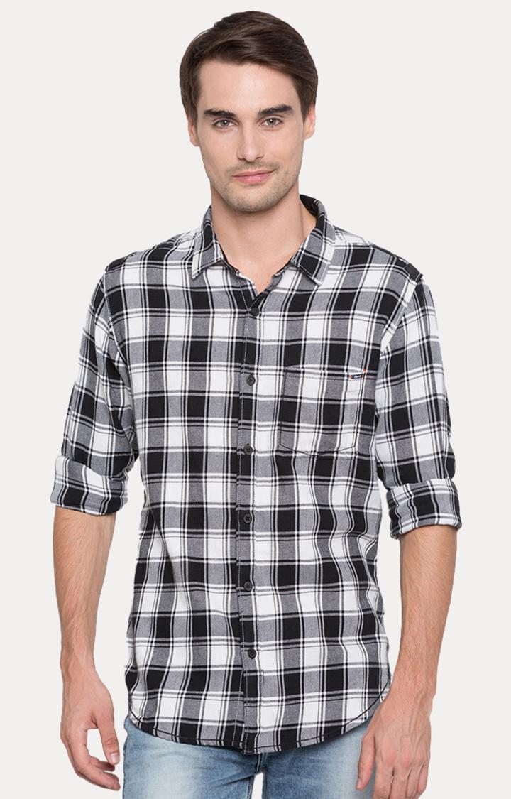 Spykar | spykar Black Checked Slim Fit Casual Shirt