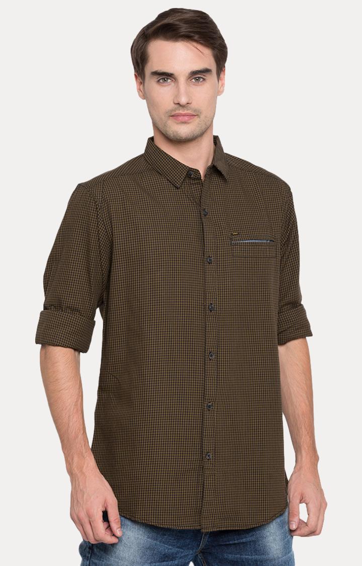 Spykar | spykar Green Checked Slim Fit Casual Shirt