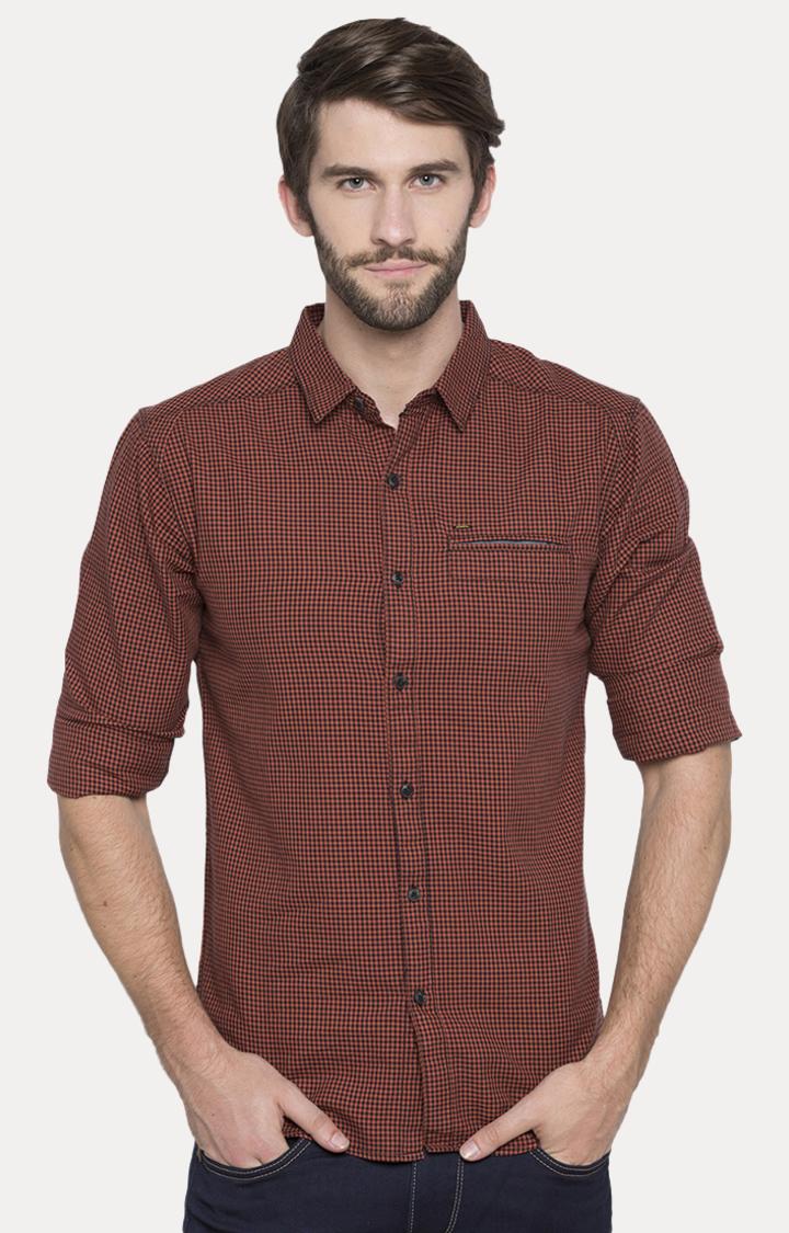 Spykar | spykar Rust Checked Slim Fit Casual Shirt