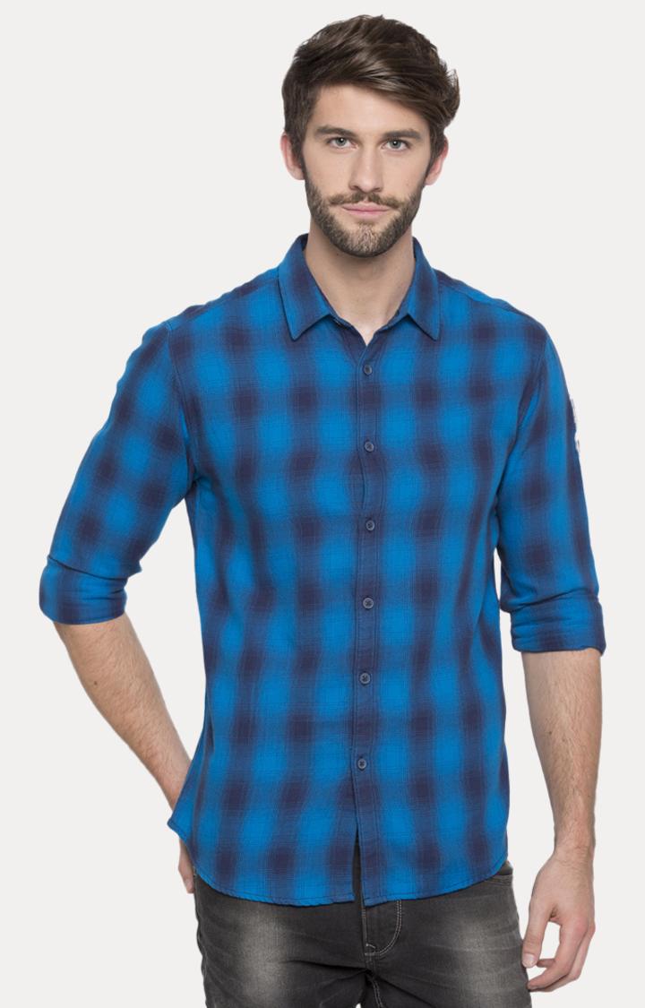 Spykar | spykar Blue Checked Slim Fit Casual Shirt