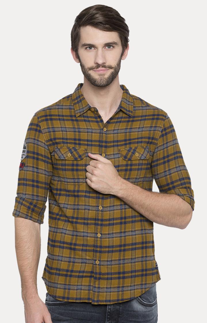 Spykar   spykar Yellow Checked Slim Fit Casual Shirt