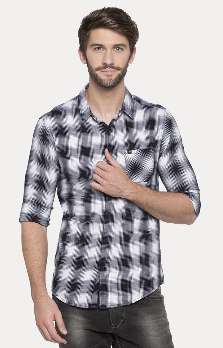 Spykar | spykar White Checked Slim Fit Casual Shirt