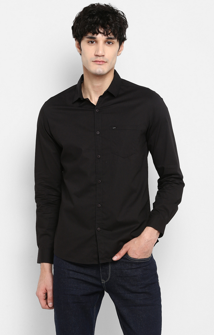 Spykar   spykar Black Solid Slim Fit Casual Shirt