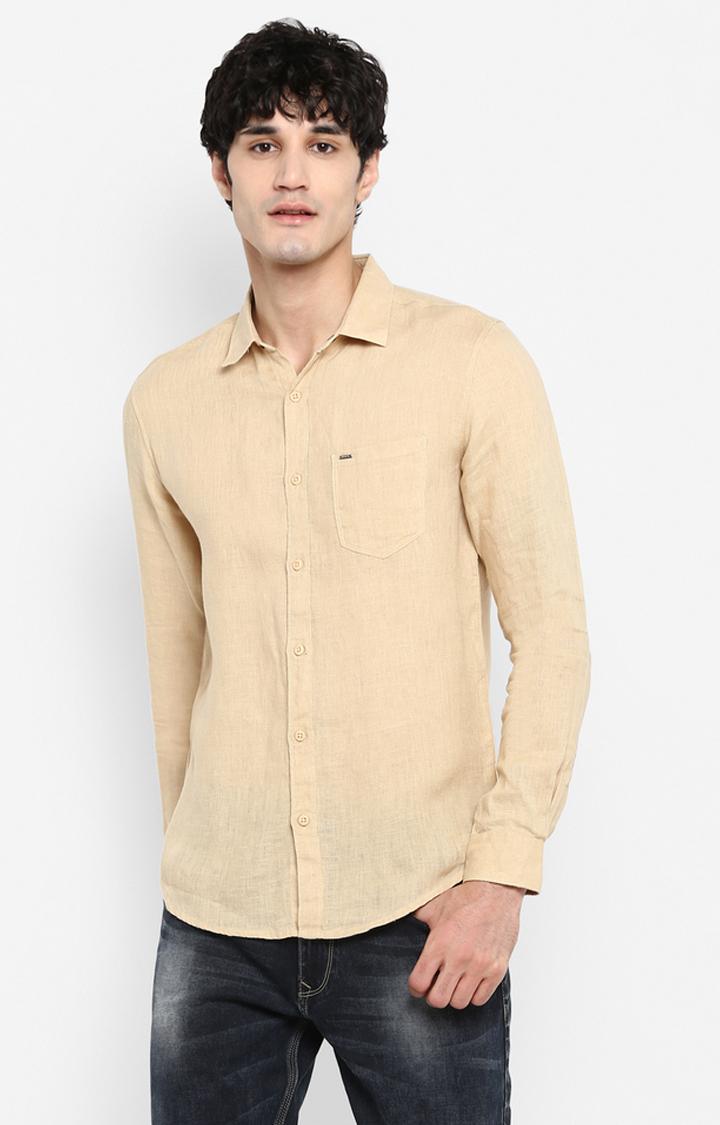 Spykar | spykar Beige Solid Slim Fit Casual Shirt