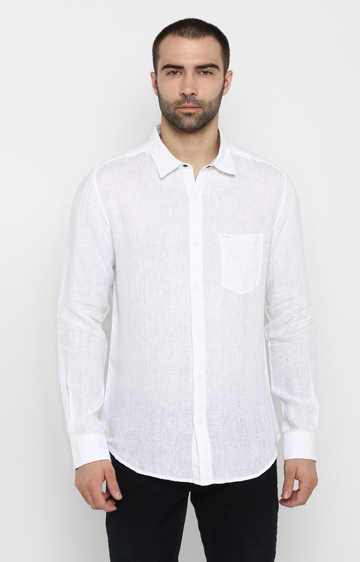 Spykar | spykar White Solid Slim Fit Casual Shirt