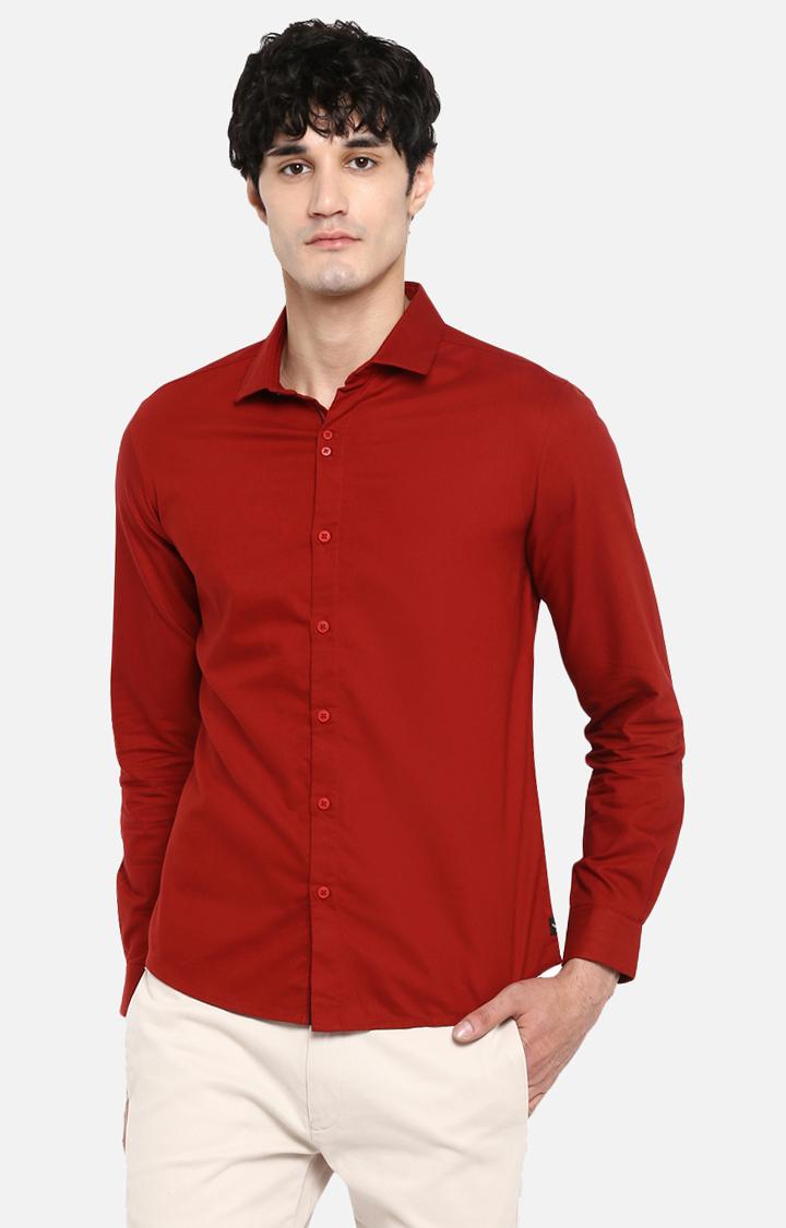 Spykar | spykar Red Solid Slim Fit Casual Shirt