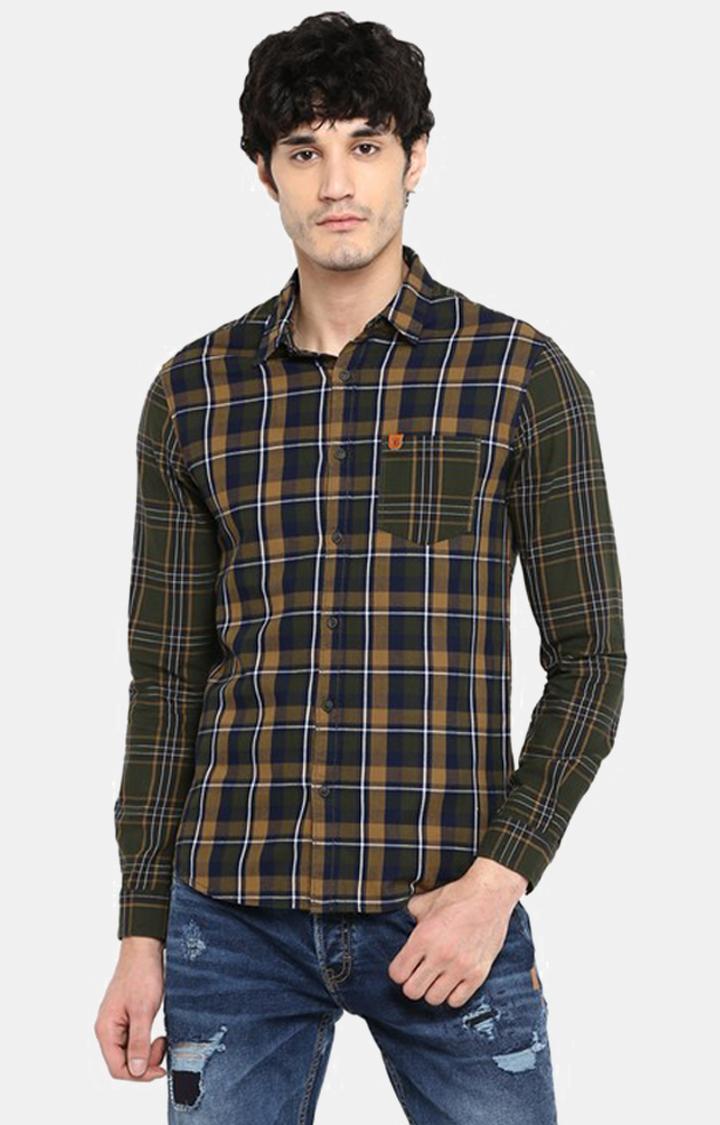 Spykar   spykar Olive Checked Slim Fit Casual Shirt