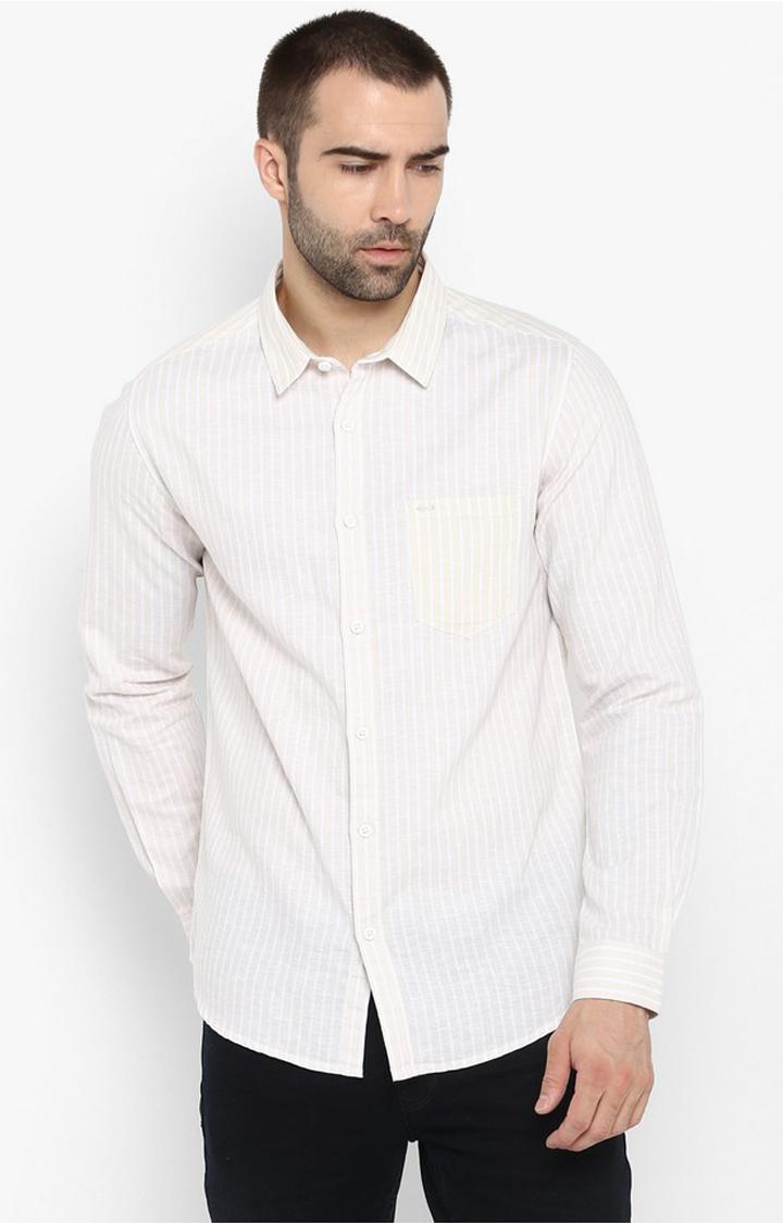 Spykar | spykar Beige Striped Slim Fit Casual Shirt