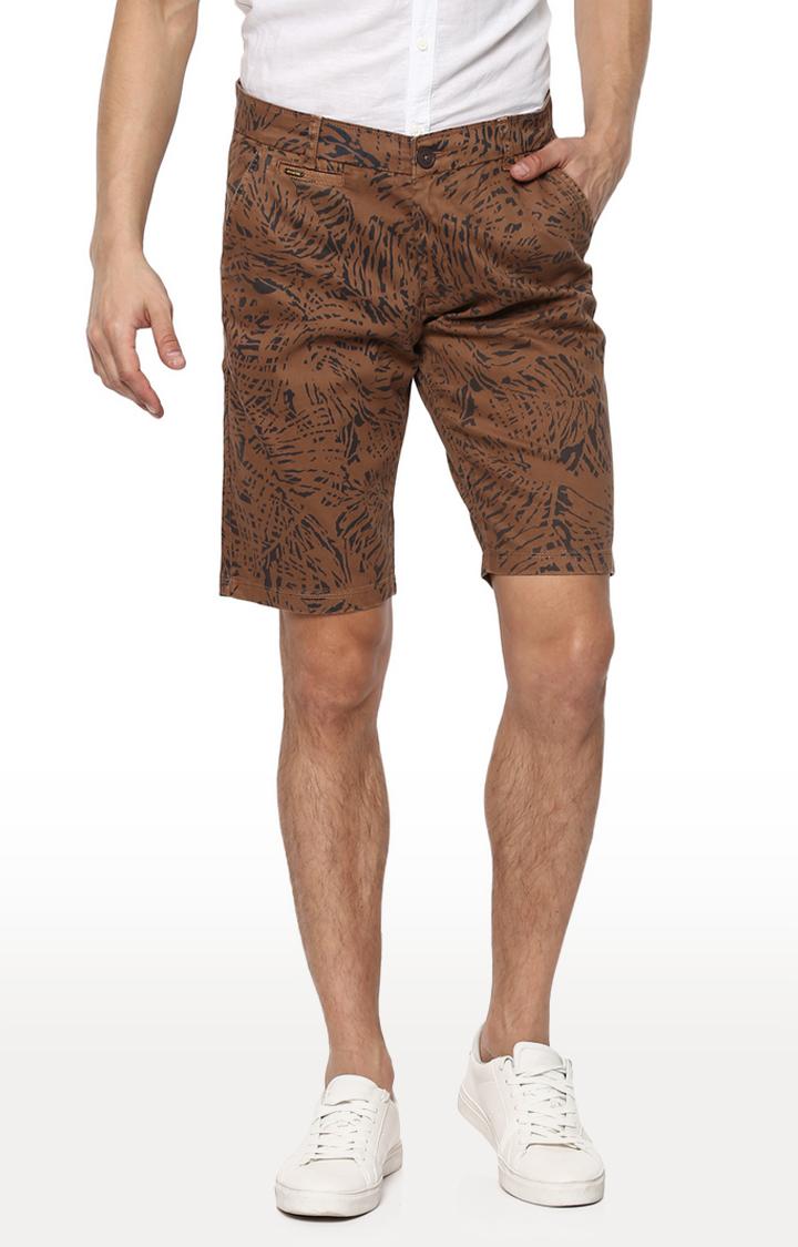 Spykar | Spykar Brown Printed Slim Fit Shorts