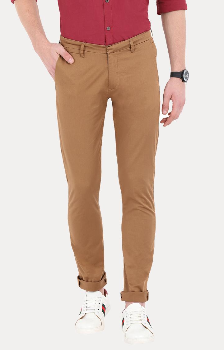 Spykar | Spykar Khaki Solid Slim Fit Chinos