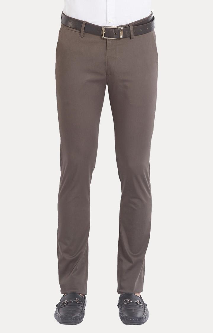 Spykar | Spykar Brown Solid Slim Fit Chinos