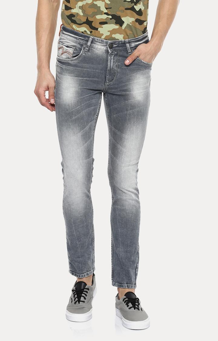 Spykar | Spykar Grey Solid Skinny Fit Jeans