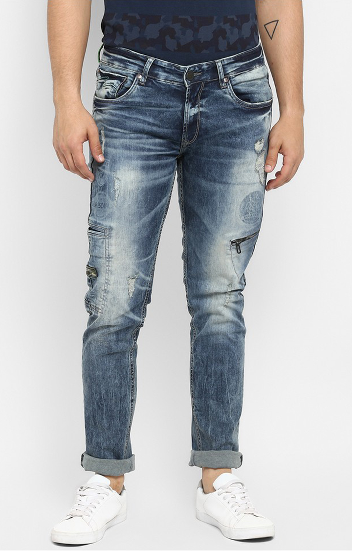 Spykar | Spykar Vintage Blue Ripped Skinny Fit Jeans