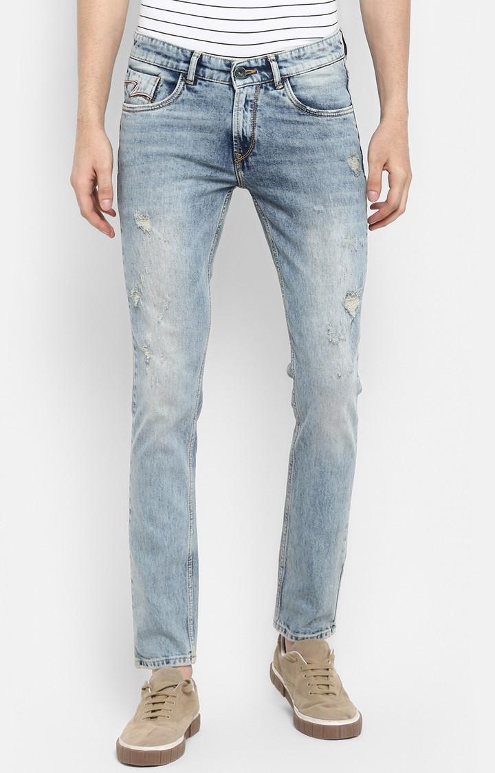 Spykar   Spykar Light Blue Ripped Skinny Fit Jeans