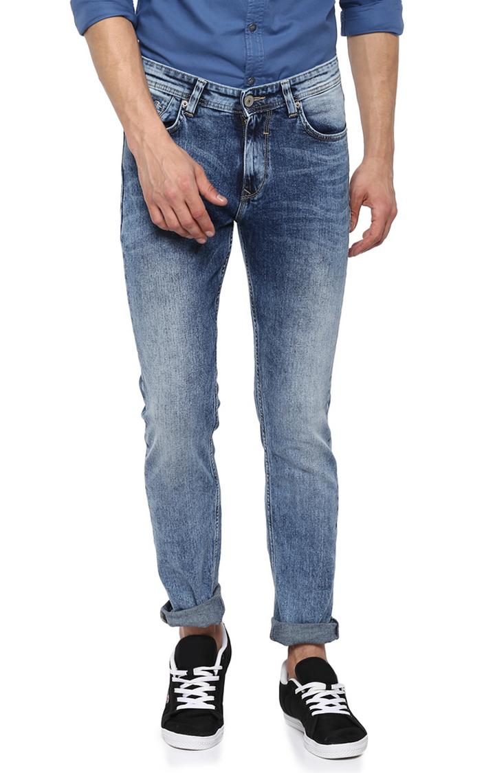 Spykar | Spykar Blue Solid Slim Thigh Narrow Leg Fit Jeans