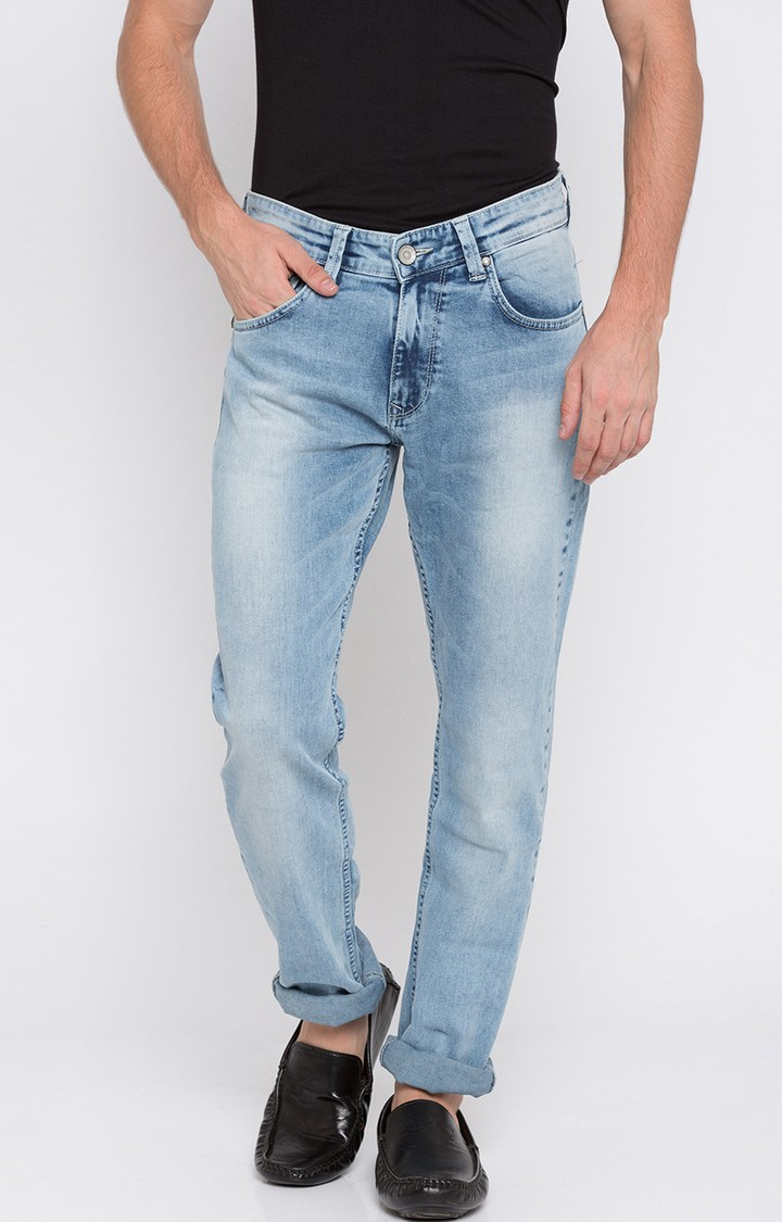 Spykar   Spykar Light Blue Solid Slim Thigh Narrow Leg Fit Jeans
