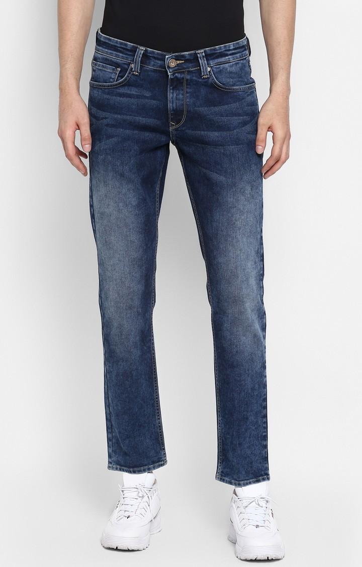 Spykar | Spykar Mid Blue Solid Slim Thigh Narrow Leg Fit Jeans