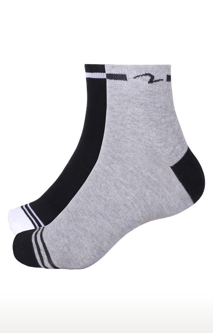Spykar   Spykar Black & Grey Solid Ankle length Socks