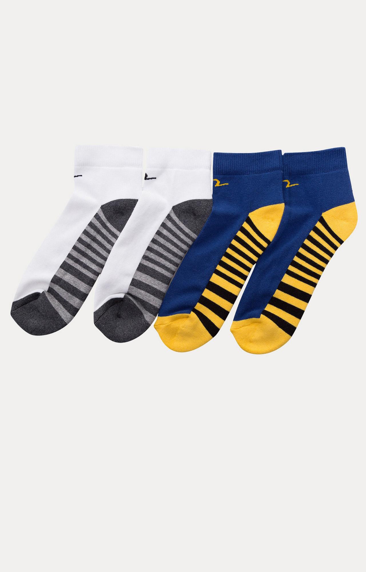 Spykar   Spykar White & Blue Striped ankle length Socks