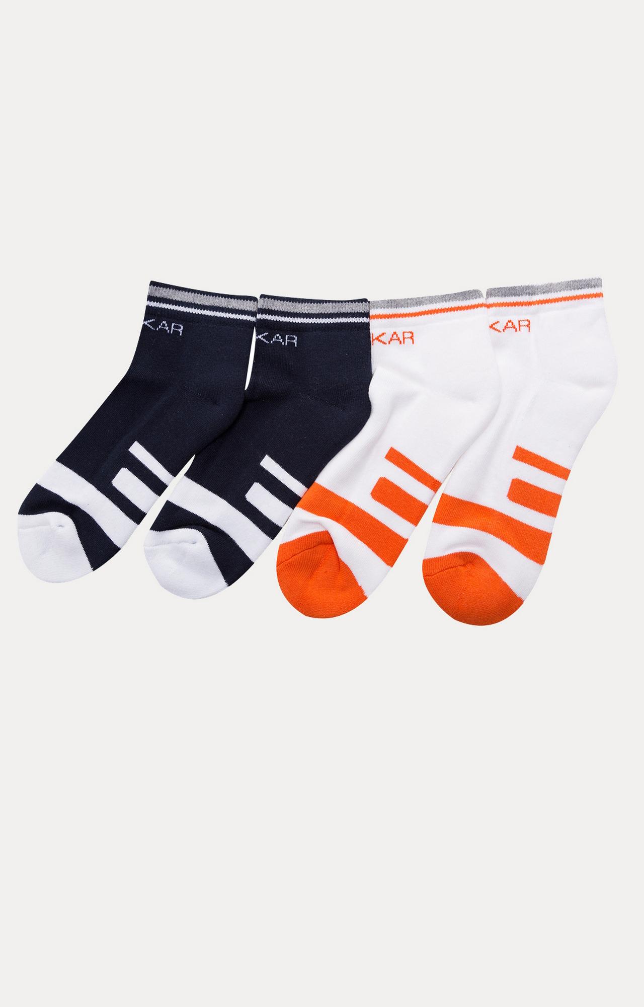 Spykar   Spykar White & Navy Colourblock ankle length Socks