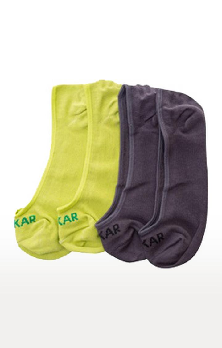 Spykar | Spykar GREY MELANGE, PARROT GREEN Cotton Socks