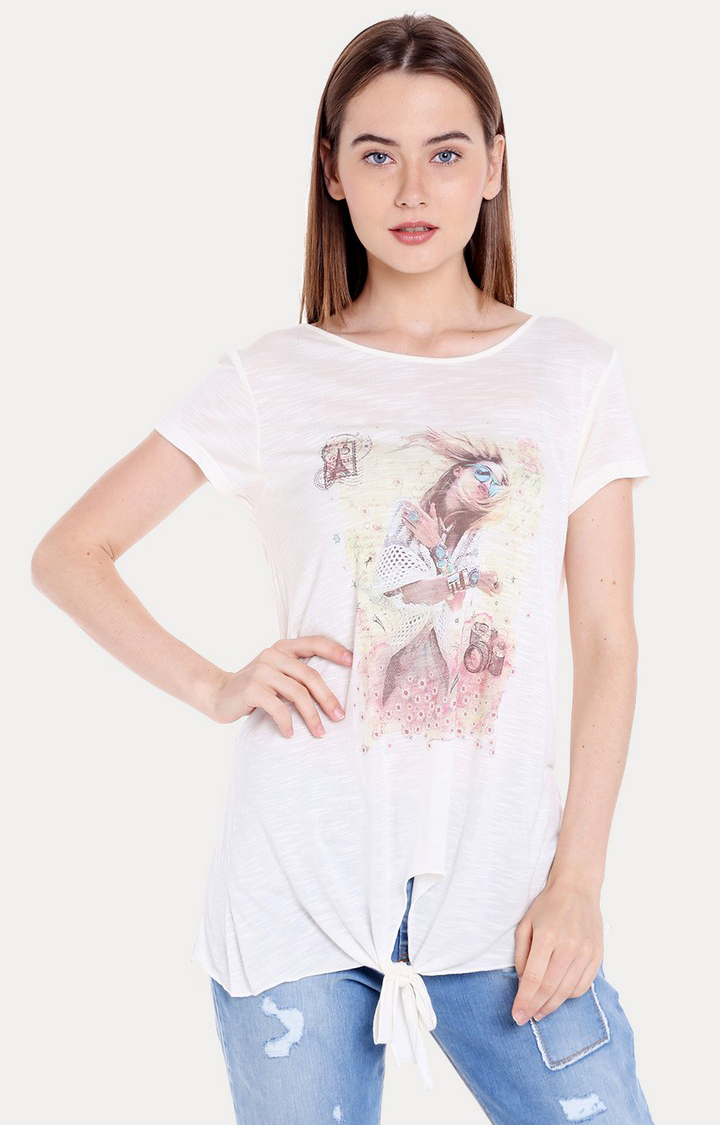Spykar | Spykar White Cotton Women T-Shirts