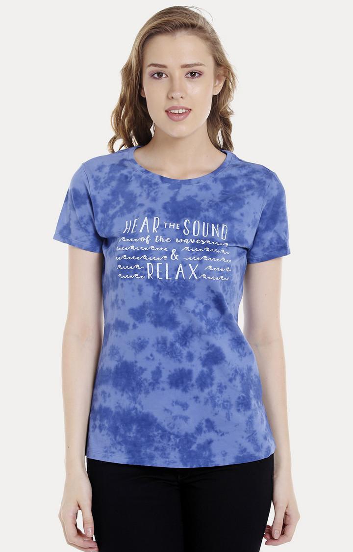 Spykar | spykar Blue Printed Regular Fit T-Shirt