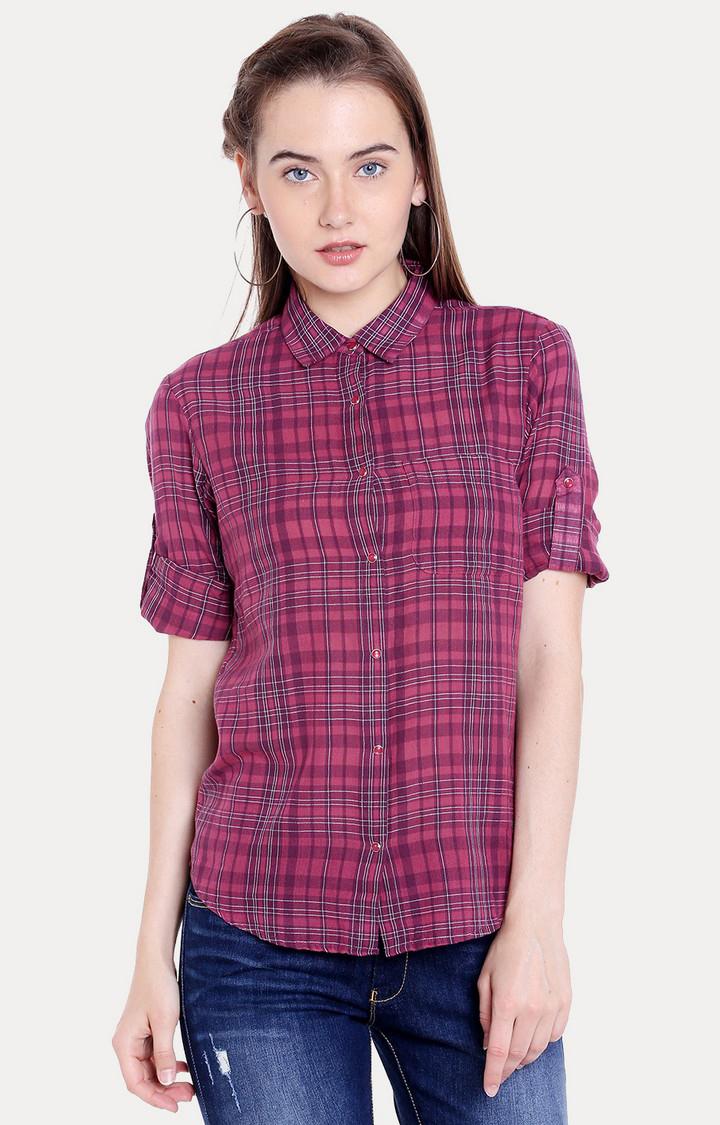 Spykar | spykar Pink Checked Regular Fit Casual Shirt