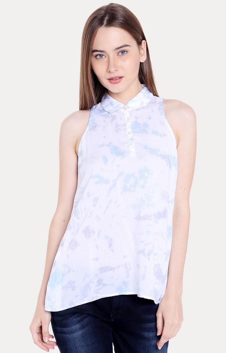 Spykar | spykar White & Blue Printed Regular Fit Blouson Top