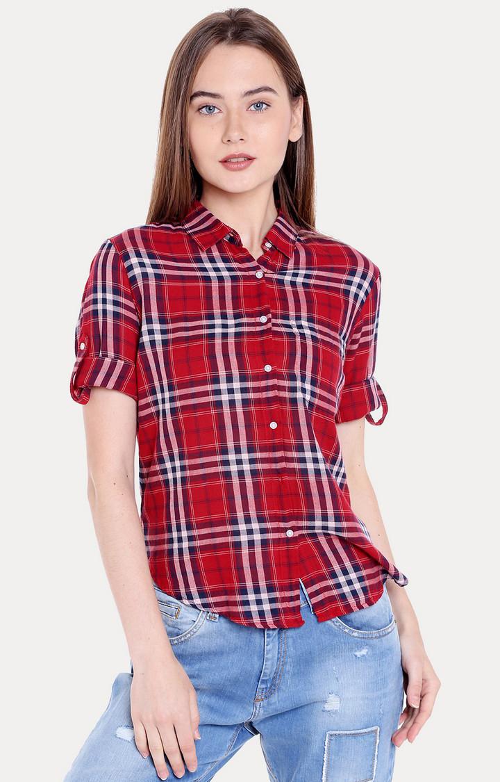 Spykar | spykar Red Checked Regular Fit Casual Shirt