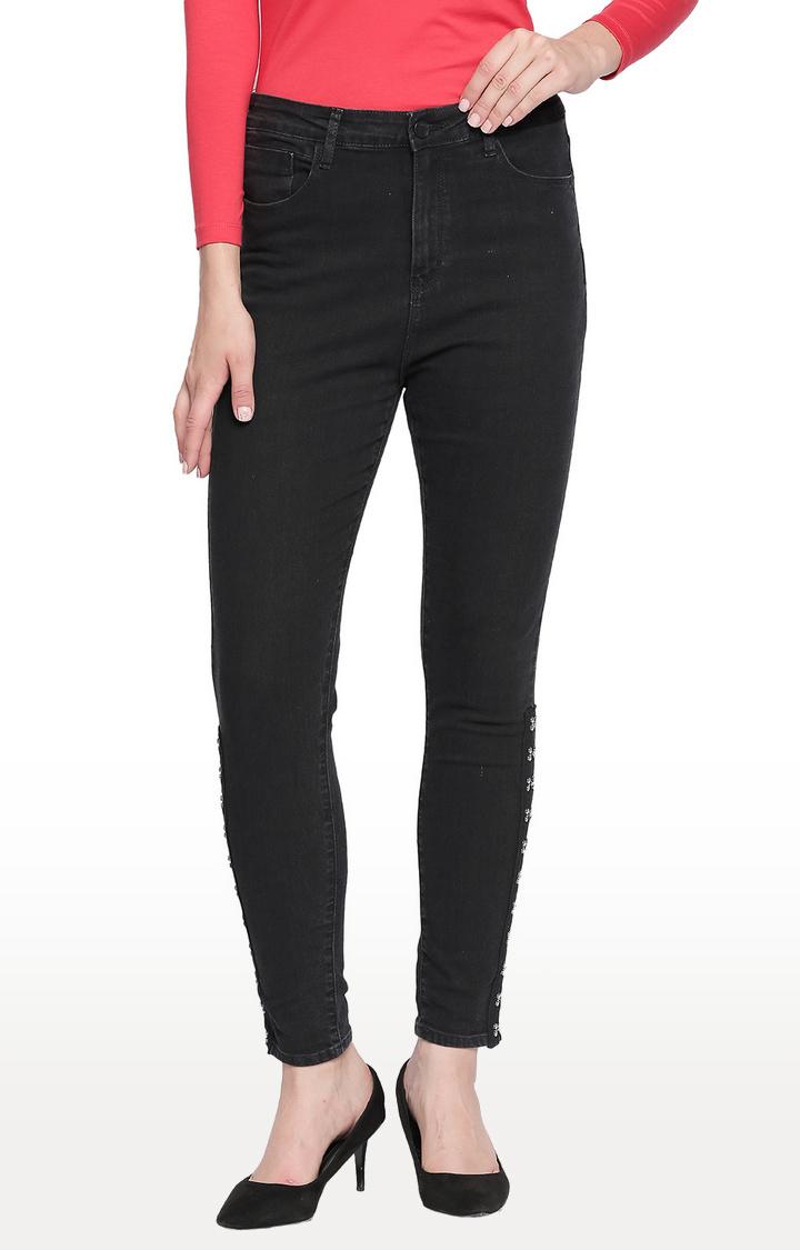 Spykar | Spykar Black Solid High Rise Jeans