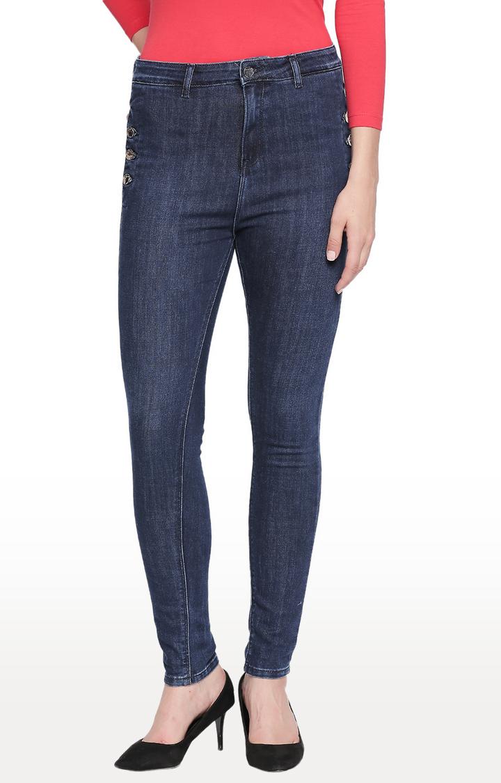 Spykar | Spykar Dark Blue Solid High Rise Jeans