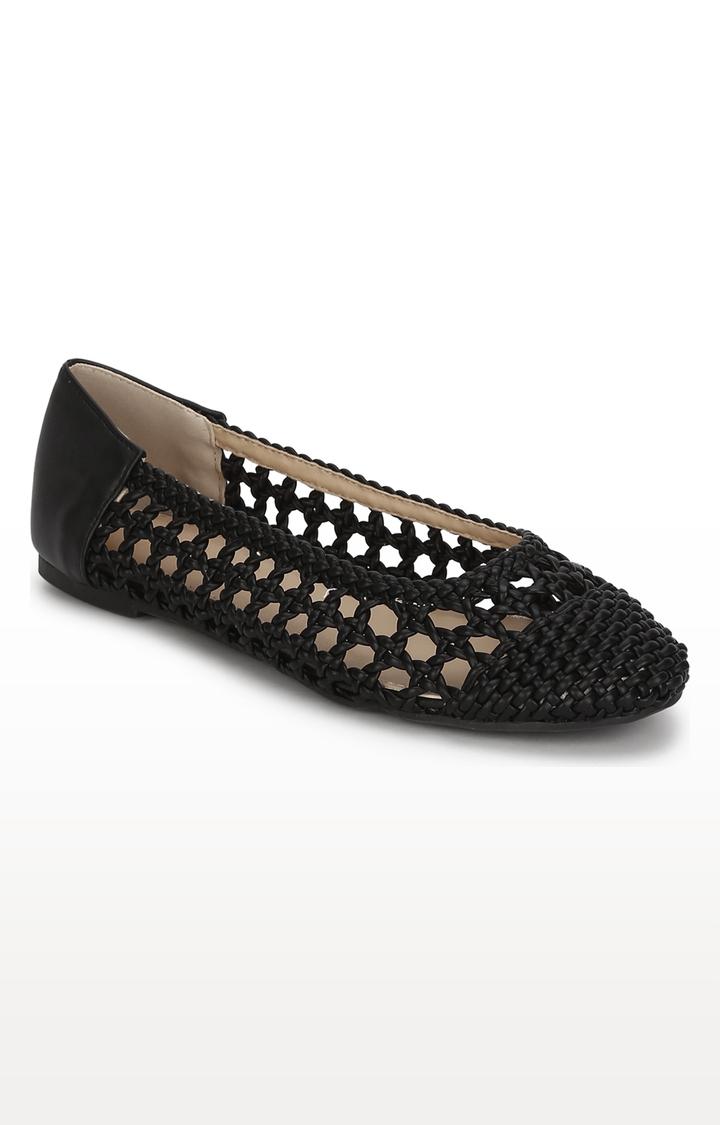 Truffle Collection   Black Weave Ballerinas