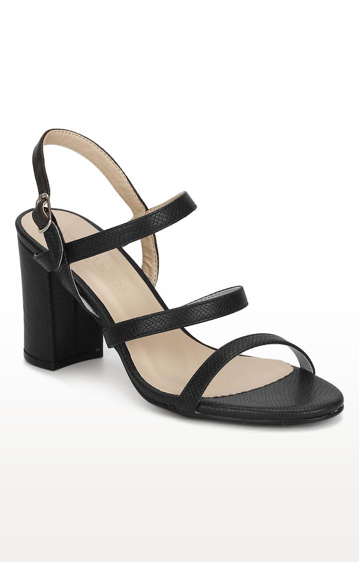 Truffle Collection | Black Snake Block Heels