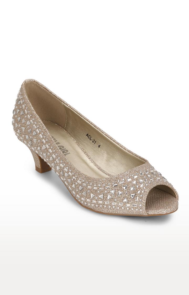 Truffle Collection   Golden Studded Peeps Block Heel