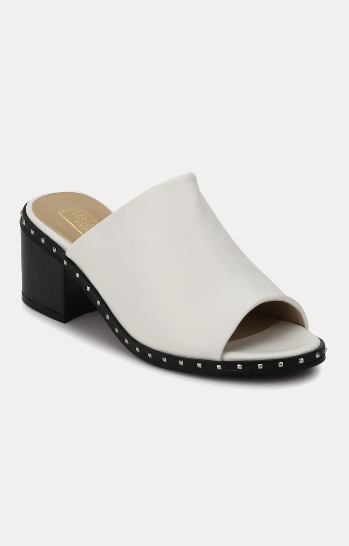 Truffle Collection   White Block Heels