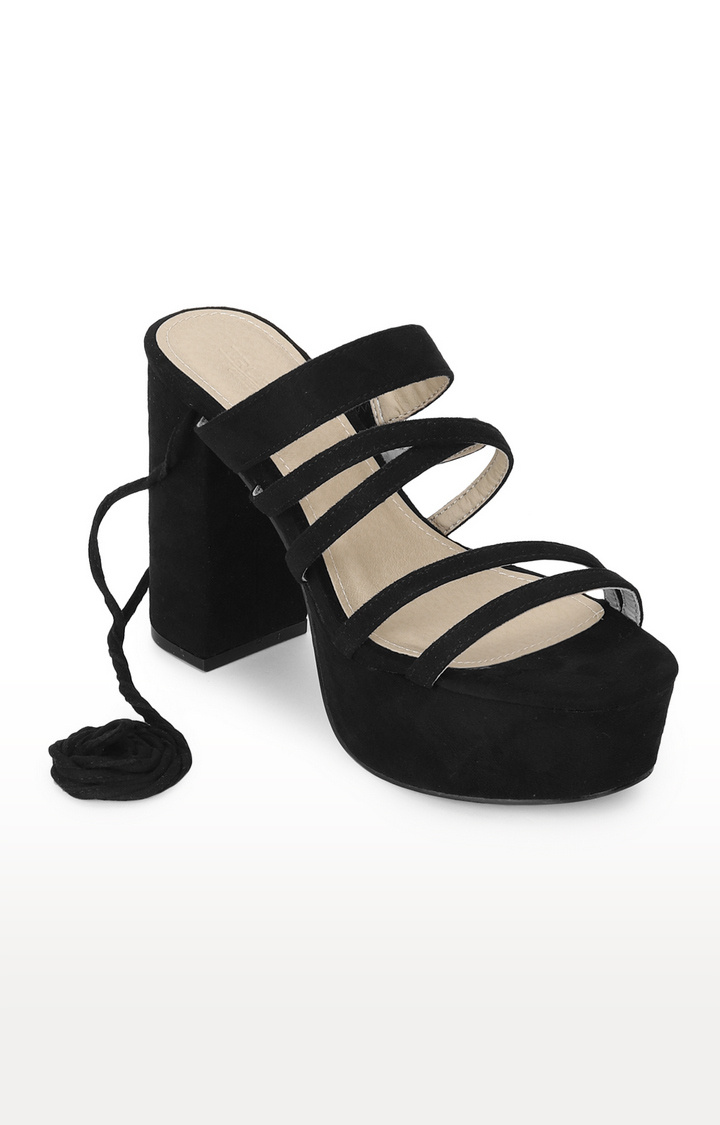 Truffle Collection | Black Micro Lace Up Block Heels