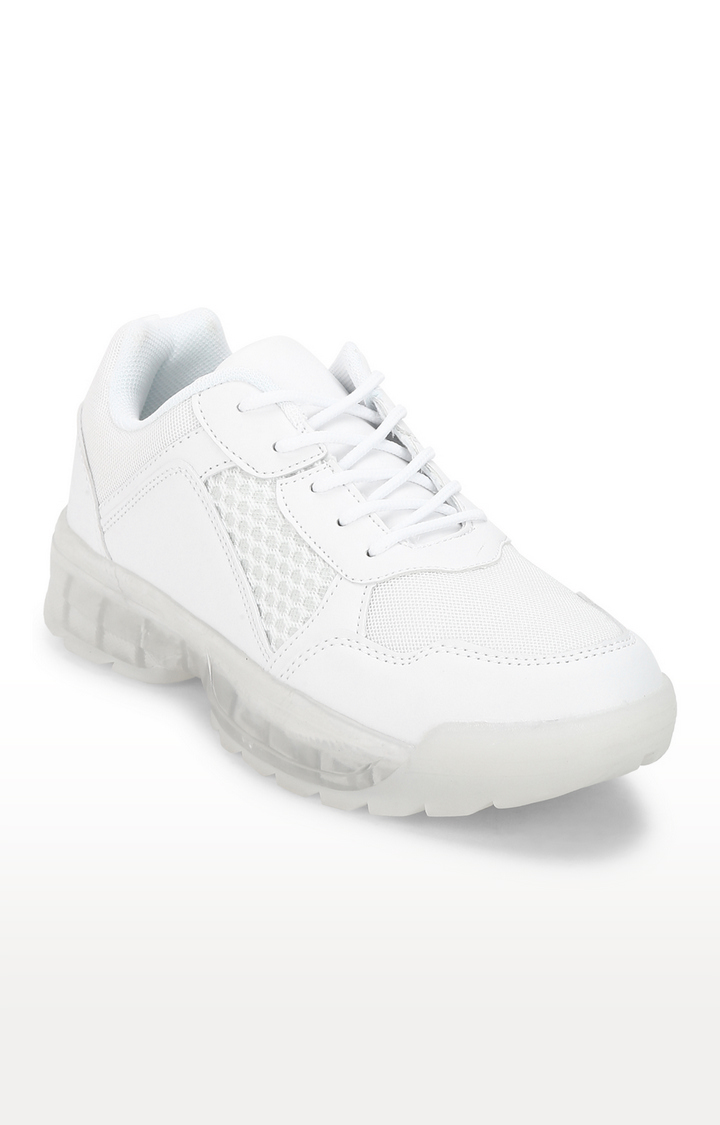 Truffle Collection   White PU Mesh Cleated Bottom Lace-Up Sneakers