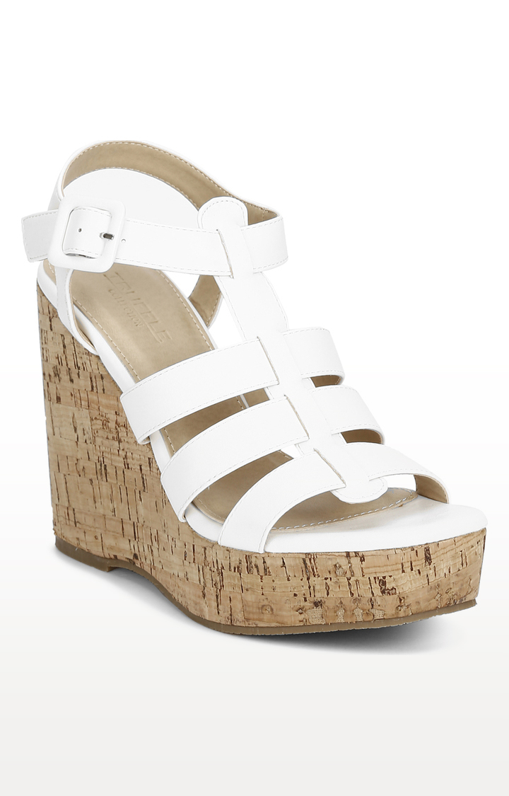 Truffle Collection | White Strapped Wedges