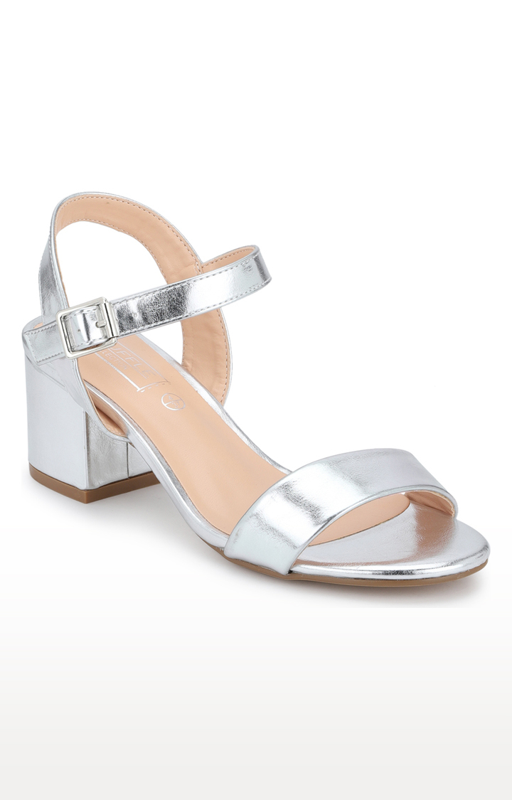 Truffle Collection   Silver Block Heels