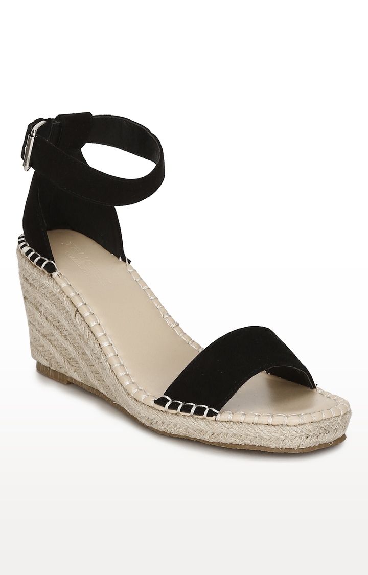 Truffle Collection | Black Micro Straped Jute Wedges