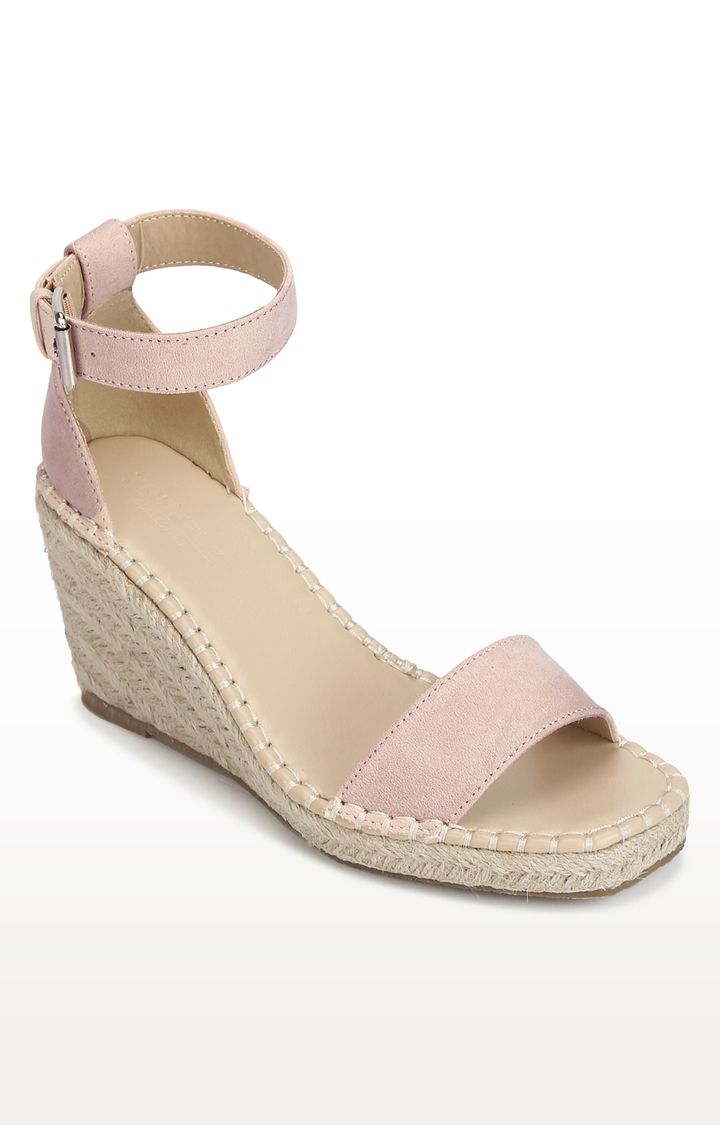 Truffle Collection   Peach Micro Straped Jute Wedges