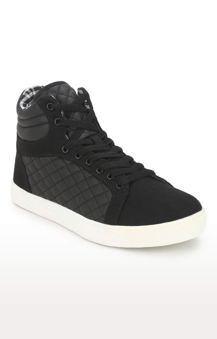 Truffle Collection   Black PU High Top Lace-Up Men Sneakers