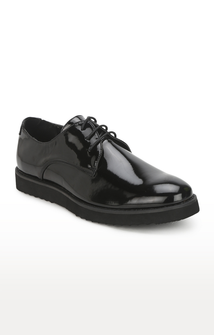 Truffle Collection | Black Patent Shiny Shorting Blucher Lace-Up Shoes